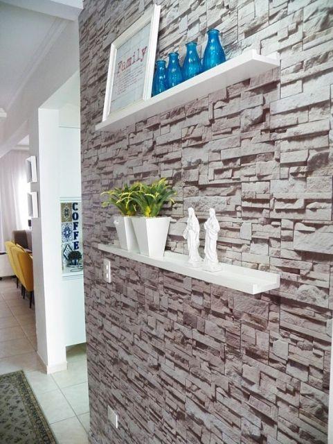 Adesivo de parede 3D pedra.