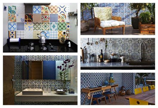 Montagem com cinco ambientes diferentes decorados com azulejos portugueses.