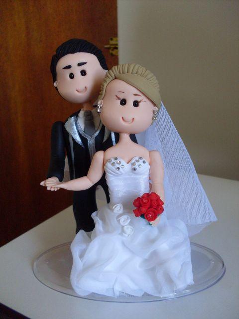 Bonecos de biscuit para casamento.
