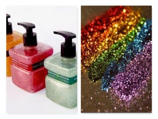como fazer sabonete líquido com glitter.