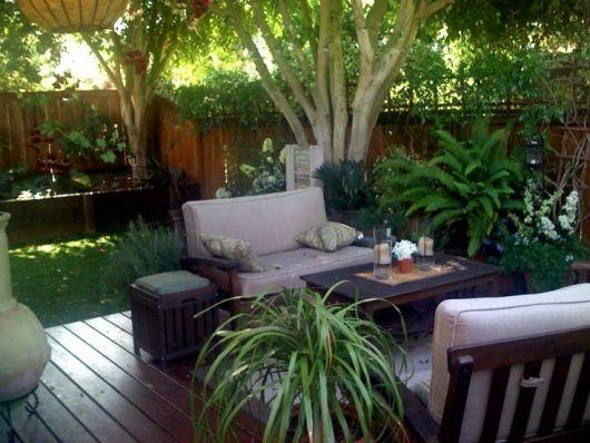decoração com plantas com móveis no jardim
