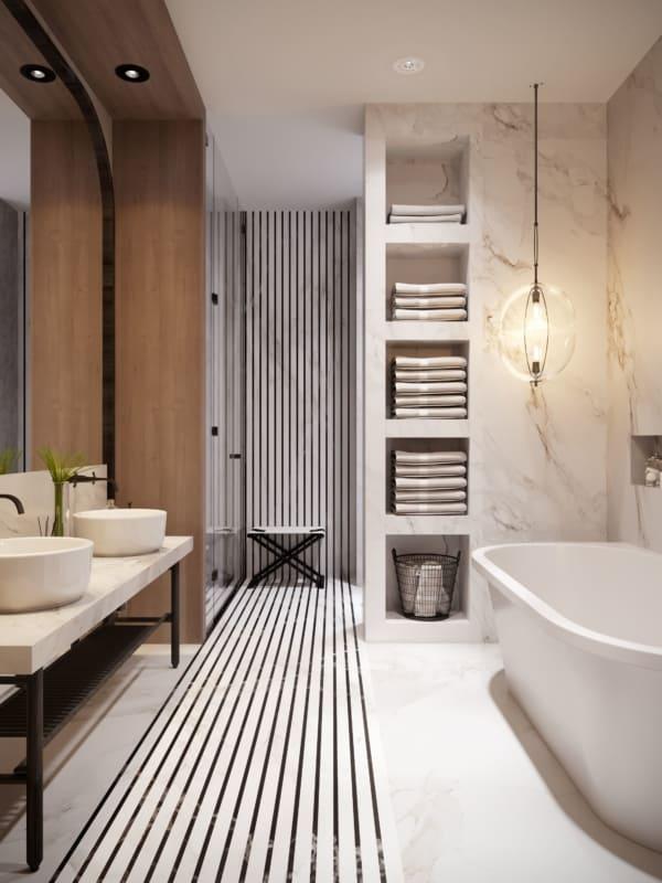 Banheiro moderno branco com luminária pendente