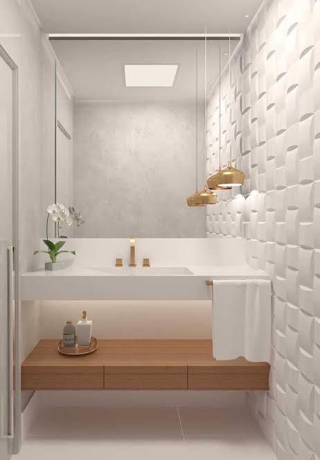 Iluminação de lavabo com plafon quadrado