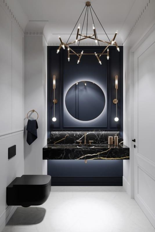 Luminária diferente e moderna para banheiro branco e preto