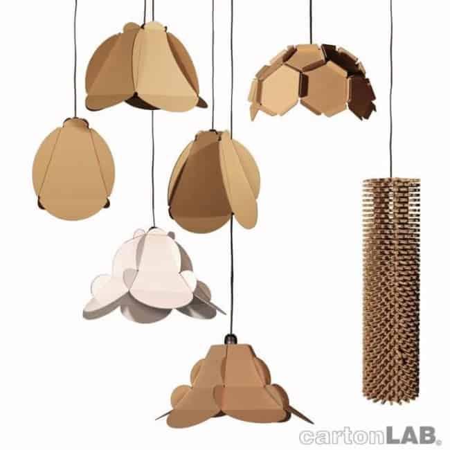 Luminárias feitas de papelão