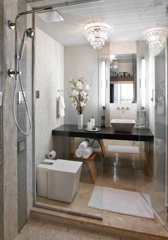 Lustre de cristal para banheiro pequeno e moderno