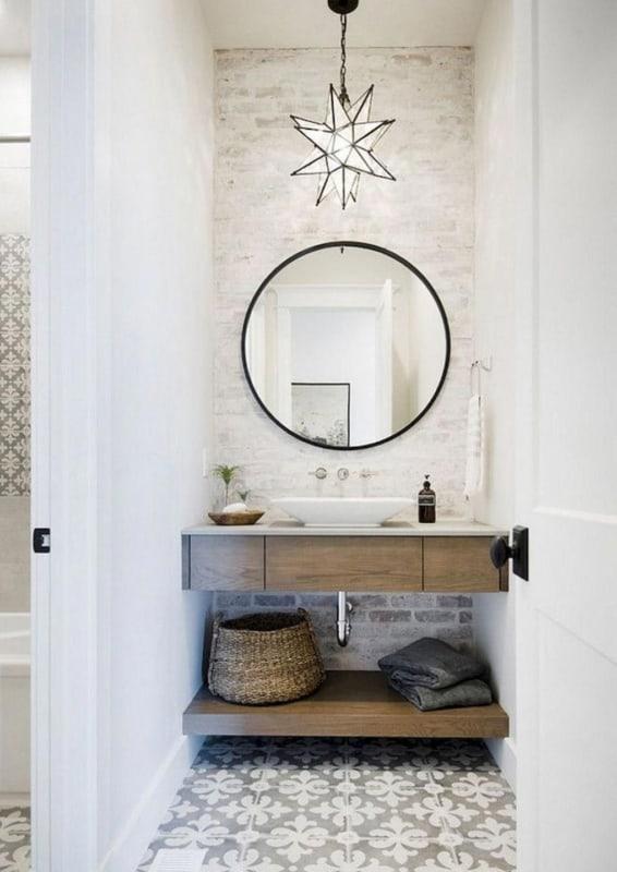 Lustre pendente de estrela para lavabo