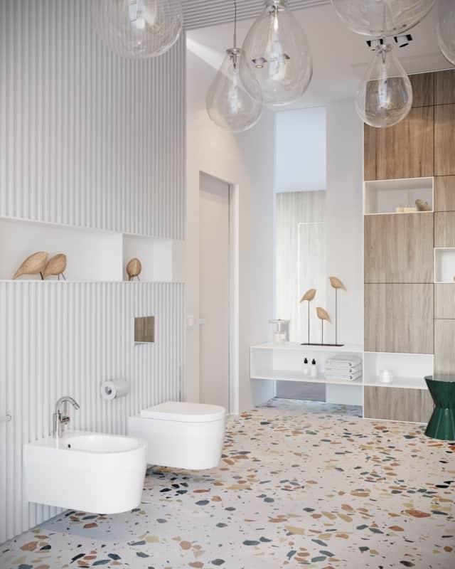 Lustre pendente tipo lâmpada para banheiro estiloso