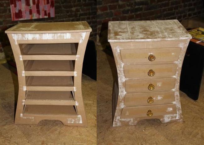 Móvel gaveteiro de papelão feito em casa
