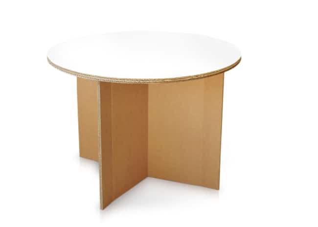 Mesa redonda de papelão