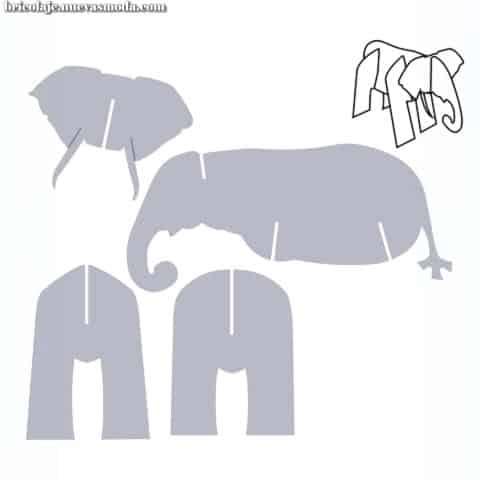 Molde de elefante de papelão