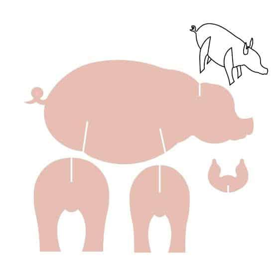 Molde de porco de papelão