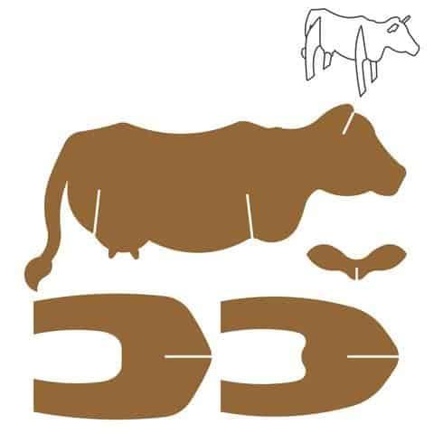 Molde para fazer vaca de papelão
