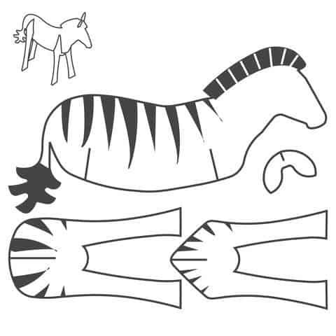 Molde para fazer zebra de papelão