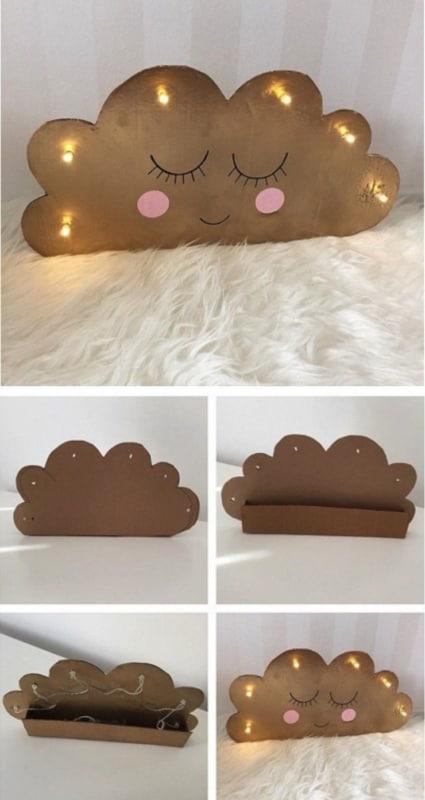 Nuvem de papelão para artesanato em casa