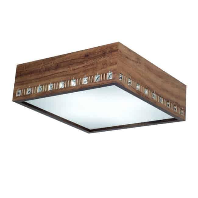 Plafon quadrado de sobrepor com cristais e madeira