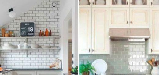 ilustração com fotos de cozinhas com azulejos.