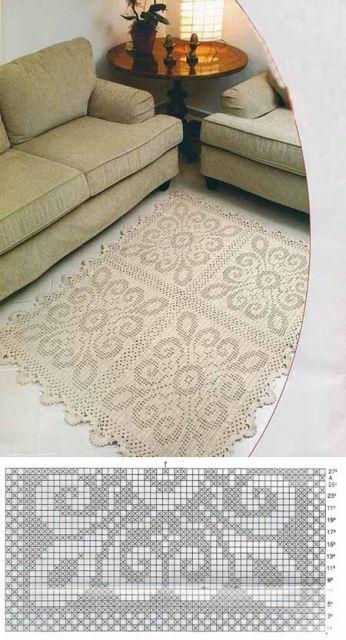 tapete quadrado com ornamentos em barbante cru