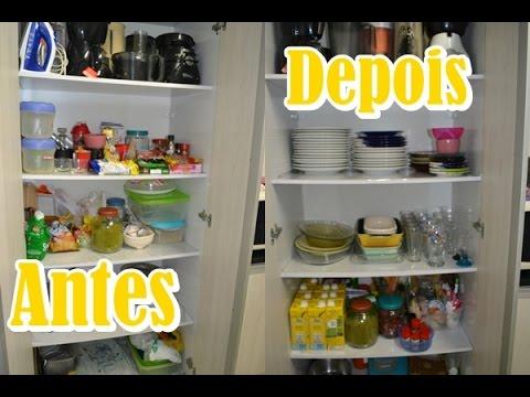 antes e depois como organizar armário de cozinha