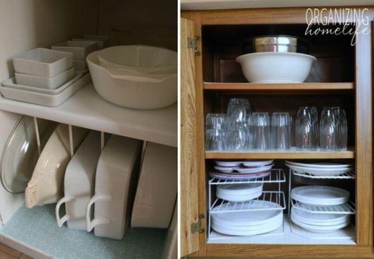 Louças - como organizar armário de cozinha