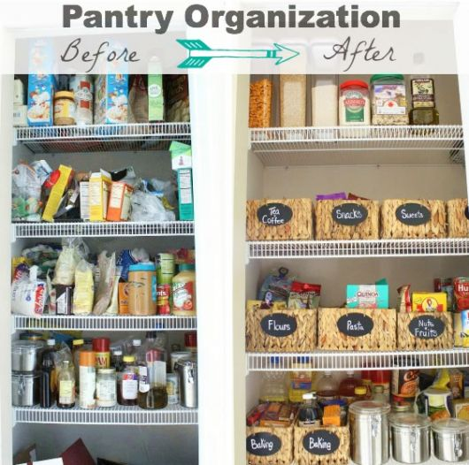 organização de armario de cozinha antes e depois