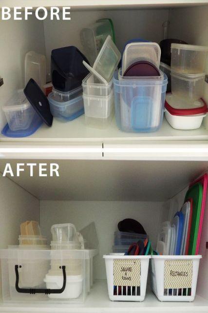 potes organizados em caixas