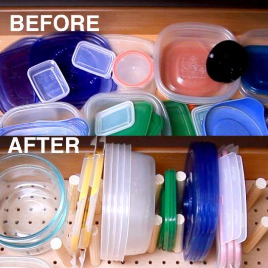 gaveta de armário de cozinha organizada antes e depois
