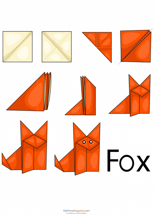 Origami de raposa fácil