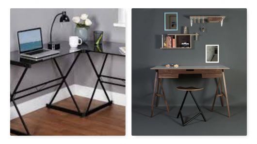 Escrivaninha moderna com base triangular.