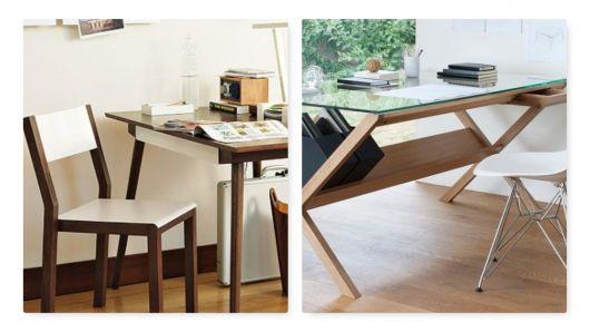 Escrivaninha moderna de modelos diferentes.