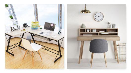 Escrivaninha moderna de madeira.
