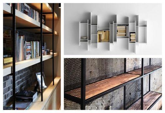 Montagem com três fotos diferentes de estante para escritório.