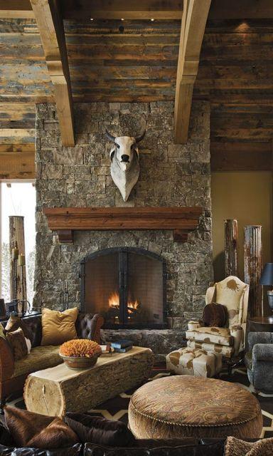Foto de uma sala de estar com decoração rústica. Nela há uma grande parede com uma cabeça de boi empalhado fixada acima de uma estante de madeira. Abaixo da estante há uma lareira de ferro acesa com lenhas.