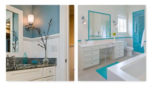 Lustre para banheiro com detalhes azuis.