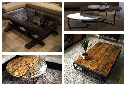Montagem com quatro fotos diferentes de mesa de centro industrial.