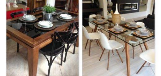 Mesa de jantar de madeira com vidro.
