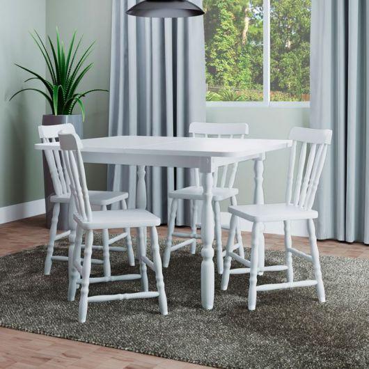 Mesa de jantar extensível branca.