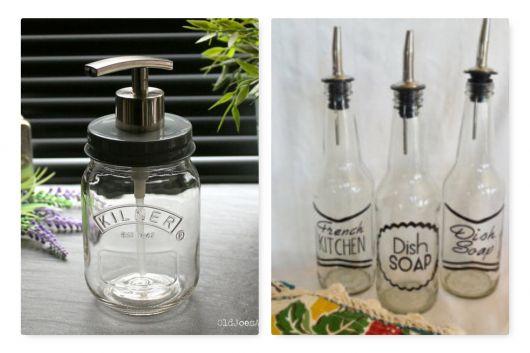 Porta sabonete líquido de vidro feito manualmente.