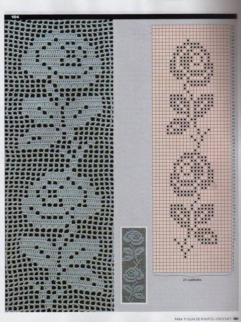 tapete de croche file retangular de rosas com grafico