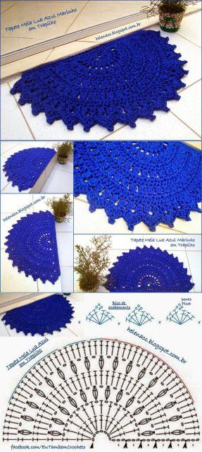 Tapete azul em leque com grafico