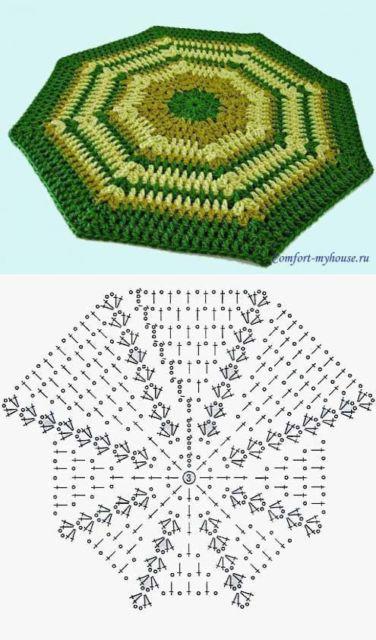 modelo de tapete de croche octogonal com listras verde, amarelo e ocre