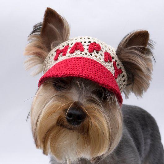 Boné para cachorro vermelho e cinza.