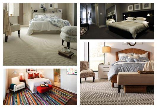 Montagem com quatro fotos diferentes de carpete para quarto.