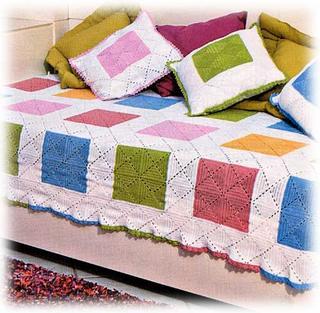 Colcha de Crochê colorida azul, rosa e verde