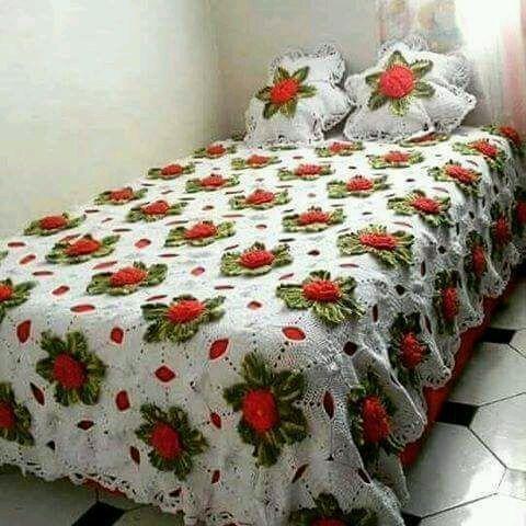 Colcha de Crochê com flores laranjas