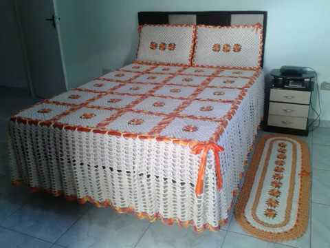 Colcha de Crochê de casal branca e laranja