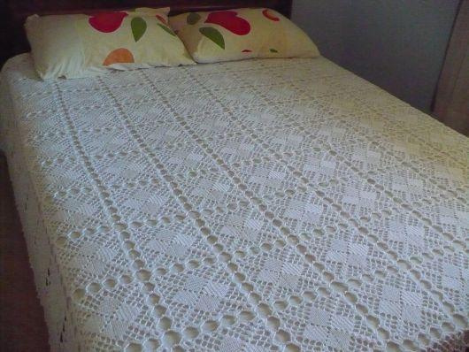Colcha de Crochê de casal branca