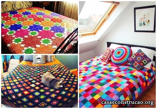Colcha de Crochê modelos com flores coloridas