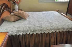Colcha de Crochê de casal com tecido