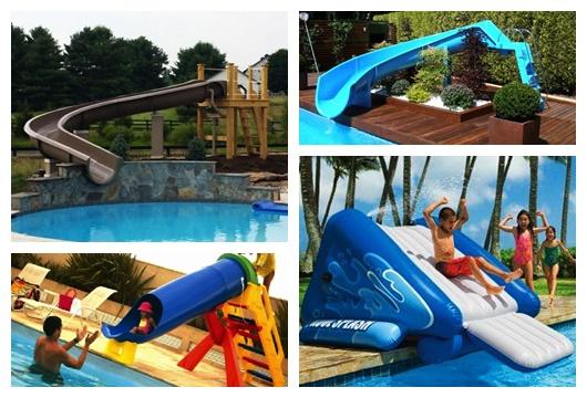 Montagem com quatro fotos diferentes de escorregador para piscina.